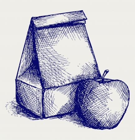 Escuela almuerzo. Bolsa de papel y la manzana. Estilo Doodle Ilustración de vector