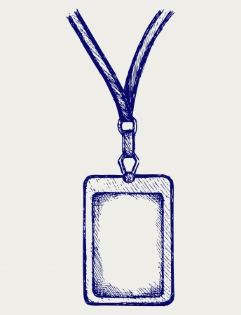 ancient pass: Blank badge with neckband. Doodle style Illustration