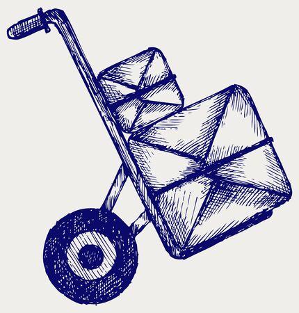 Carretilla con los paquetes postales. Estilo Doodle
