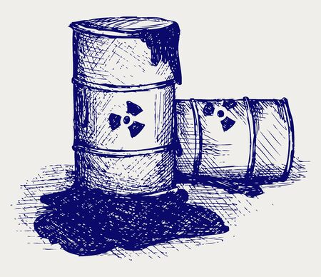 petroleum blue: Barrels with nuclear waste. Doodle style