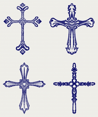 catholicism: Religious cross design collection. Doodle style Illustration