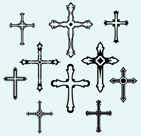 Colección religiosa diseño cruzado Ilustración de vector