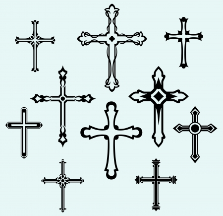 catholicism: Religious cross design collection Illustration