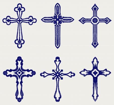 kruzifix: Religious cross design collection. Doodle-Stil