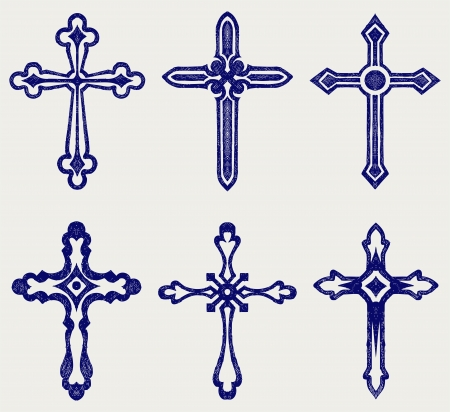 crucifix: Religious cross design collection. Doodle style Illustration