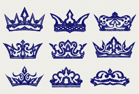Crown collection. Doodle style Vector