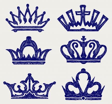 rey caricatura: Crown colección. Estilo Doodle