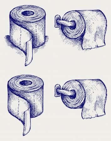 papel higienico: Papel higiénico simple. Estilo Doodle Vectores