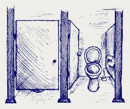 latrine: Public Toilet. Doodle style