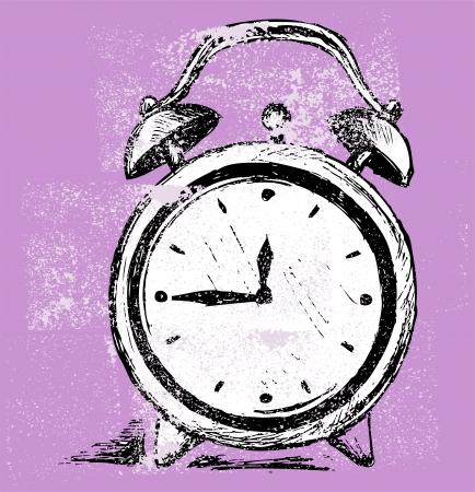 Alarm clock. Grunge style Vector