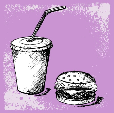 Big hamburger and soda. Grunge style Vector