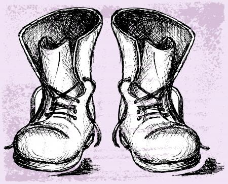 zapatos caricatura: Botas viejas y sucias. Grunge estilo Vectores