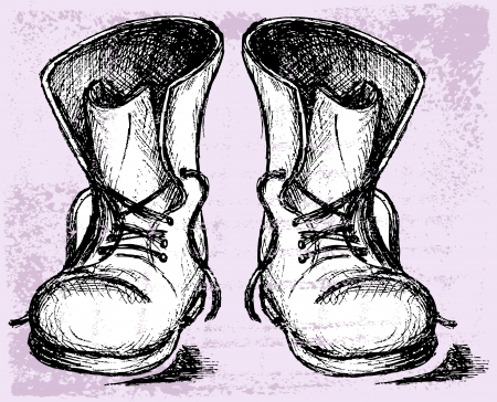 Old and dirty boots. Grunge style Vector