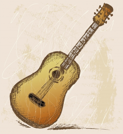 Classical guitar. Grunge style Vector