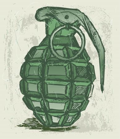 hand grenade: Hand grenade. Grunge style