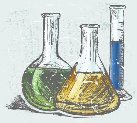 glassware: Laboratory glassware. Grunge style Illustration