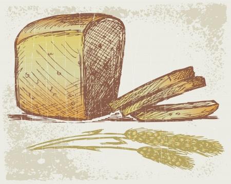 Rye bread. Grunge style Vector