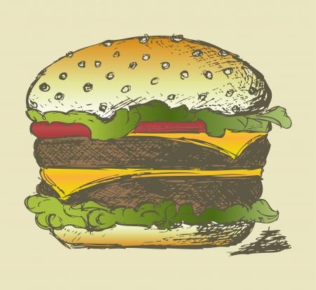 burger cartoon: Big and tasty hamburger. Grunge style