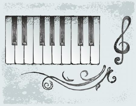музыка: Фортепиано. Grunge стиль Иллюстрация