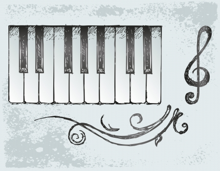 Piano. Grunge style Vector