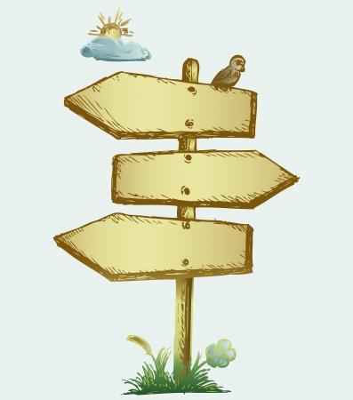 arrow wood: Wooden arrow board. Grunge style Illustration