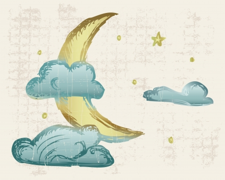 Evening crescent. Grunge style Vector