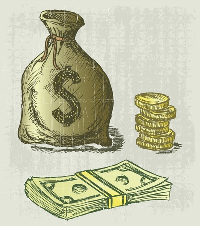 moneybag: Moneybag and coin. Grunge style