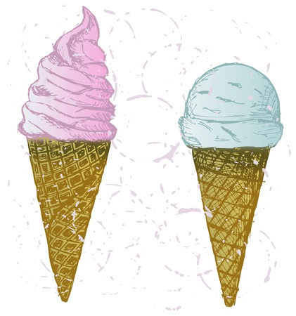 Soft serve ice. Grunge style Vector