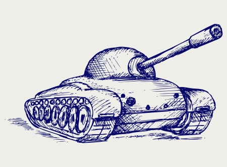 Main Battle Tank. Doodle style 矢量图片