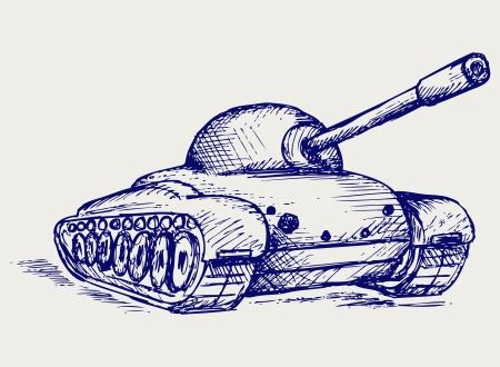 tanque de guerra: Tanque de batalla principal. Estilo Doodle Vectores