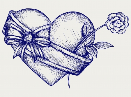 sketchy: Heart with ribbon and flower. Doodle style Illustration