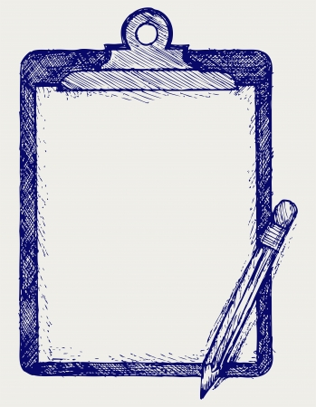 Clipboard with pencil. Doodle style