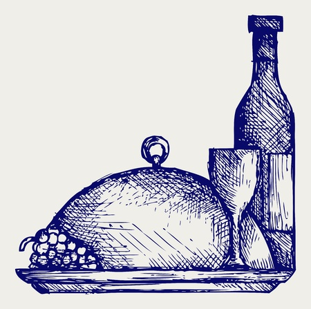deli: Grapes, bottles and glasses of wine on round tray. Doodle style Illustration