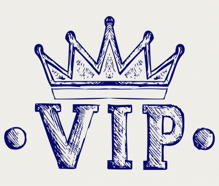 heraldic symbols: Vip crown symbol. Doodle style Illustration