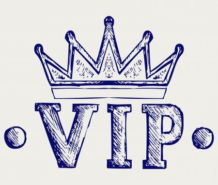 vip symbol: Vip s�mbolo de la corona. Doodle estilo