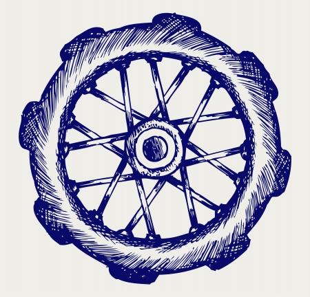 rims: Wheel motorcycle. Doodle style Illustration