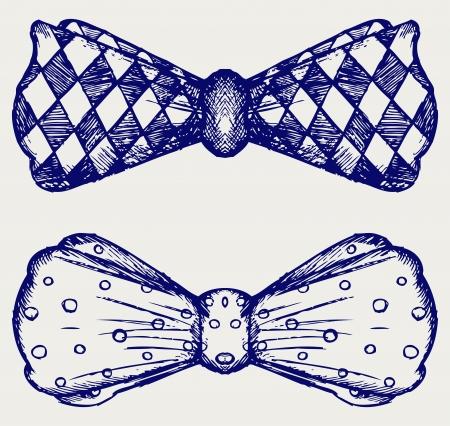 나비 넥타이를. 낙서 스타일 일러스트