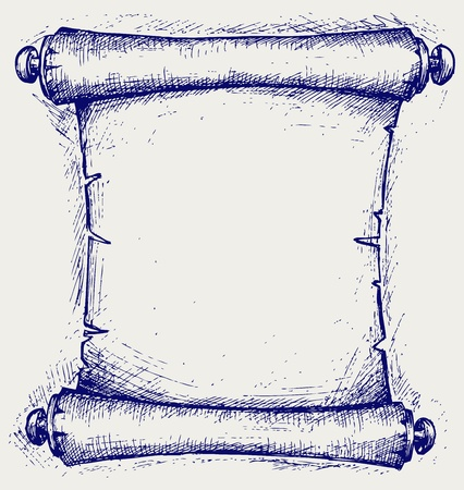 torah: Old scroll. Doodle style