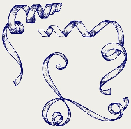 Set ribbons. Doodle style Vector