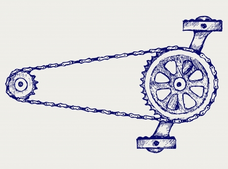 bicycle pedal: Chain gears. Doodle style Illustration