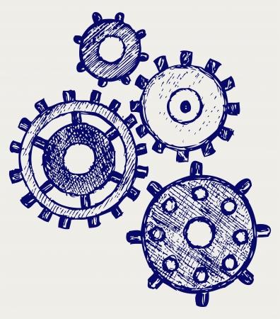 cogs: Gears. Doodle stile