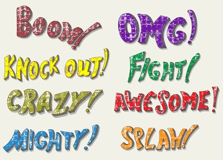 knock out: Sound effects. Doodle style Illustration