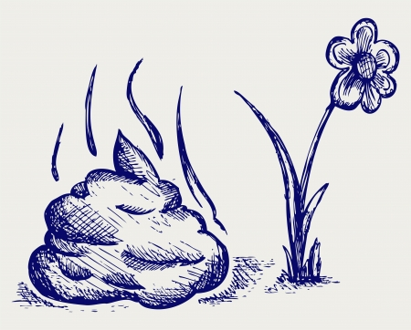 feces: Feces cartoon. Doodle style