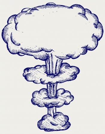 mushroom cloud: Atomic explosion. Doodle style Illustration