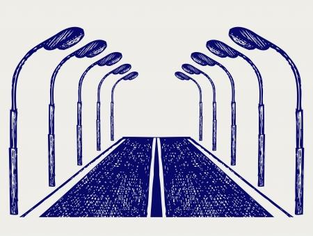 lamp posts: Street road. Doodle style Illustration