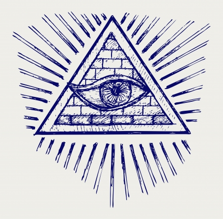 horus: All seeing eye. Doodle style Illustration