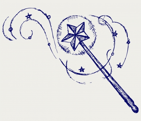fairy wand: Magic wand. Doodle style Illustration