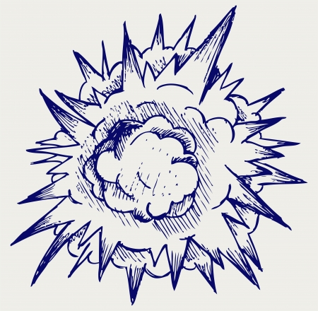 detonate: Cloud after the explosion. Doodle style