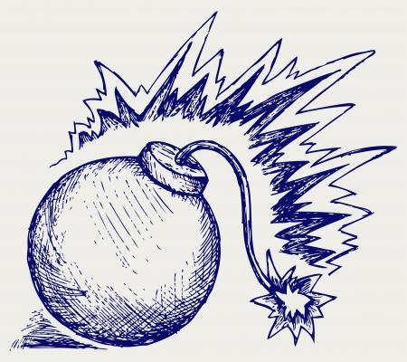 hand grenade: Hand grenade. Doodle style