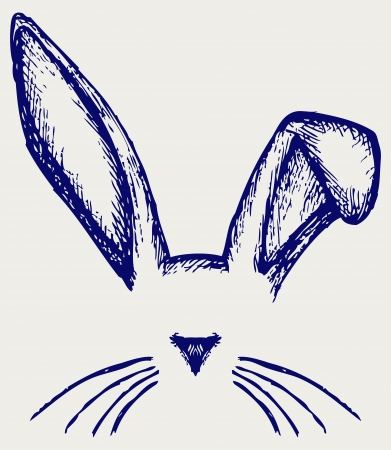 rabbit illustration: Easter bunny ears. Doodle style